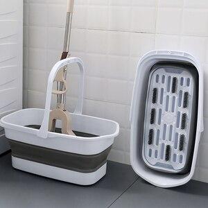 Cubo de mopa, Cubo de limpieza plegable, cubo de plástico portátil para almacenamiento de agua, cubo Rectangular plegable para el hogar, mopa de suelo