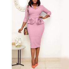 Платье в африканском стиле женское офисное элегантное облегающее