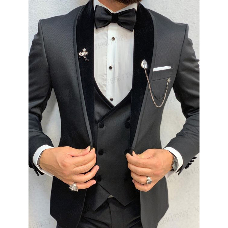 Jacket Grooms Mens Dinner Man Custom Slim Best With Brand Blazer Business Prom Wedding Suit Pants Tuxedo Dress Set Grey 2020 Fit