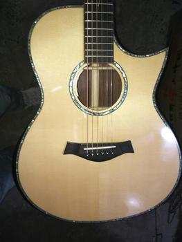 free shipping AAA all solid wood custom guitar handmade Byron cutaway professional acoustic electric guitar free shipping 12 string guitar grand auditorium body armrest bevelled cutway 12 strings solid acoustic electric guitar