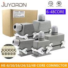 цена на Rectangular Heavy Duty Connectors HDC HE 4 6 8 10 16 20 24 32 48 Core Pin 16A Waterproof Aviation Plug Top Side Line Connector