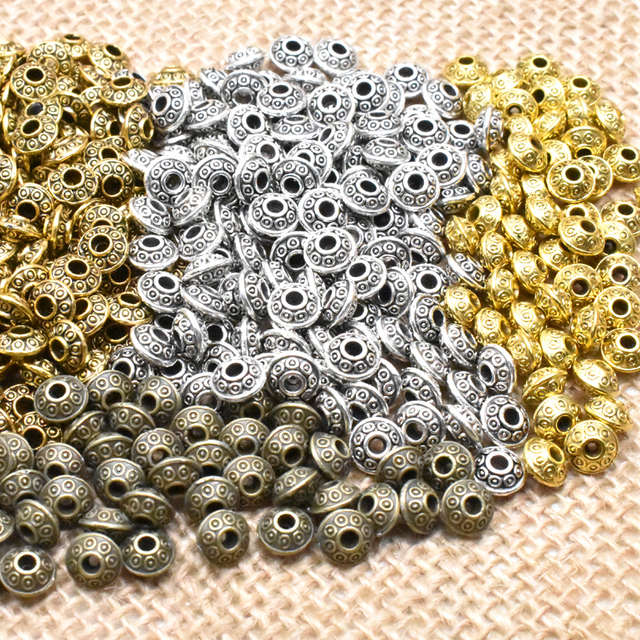 Yanqi 50pcs 6mm Tibetan Antique Metal Gold Silver Oval UFO Beads Loose Spacer Beads for Jewelry Making DIY Charms Bracelet 2