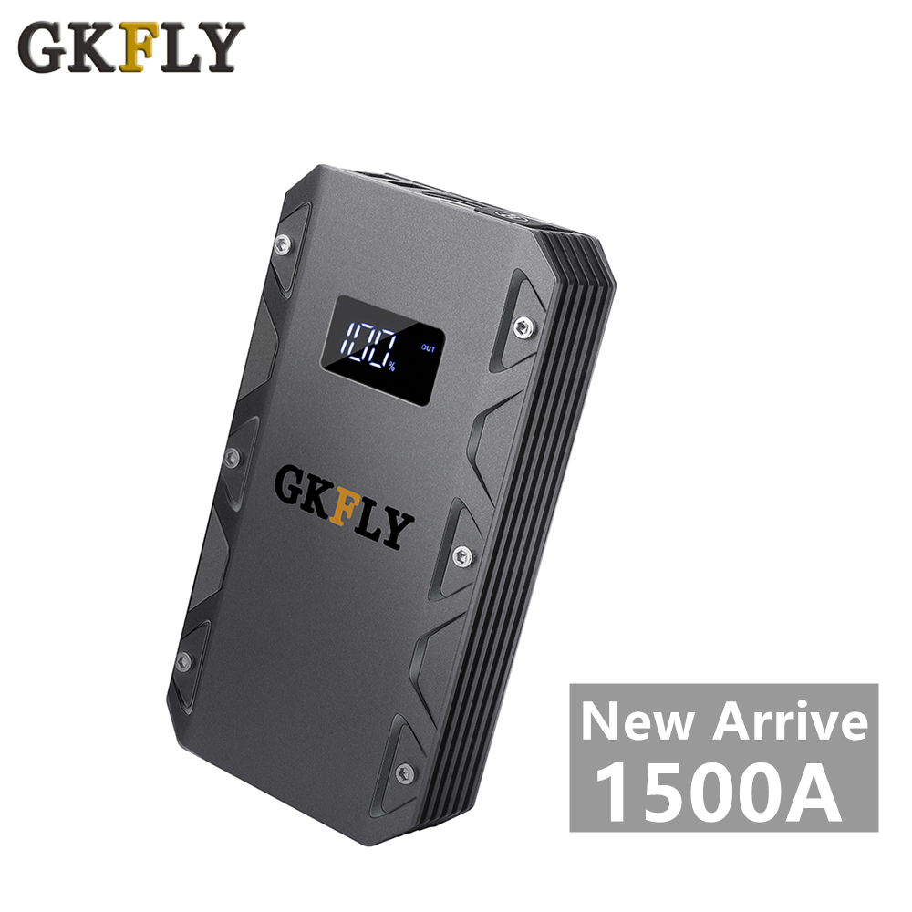 GKFLY High Capacity Mini Jump Starter 12V 1500A Starting Cables Device Multi-function Portable Power Bank Car Battery Booster