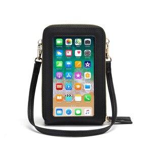 Livraison directe bandoulière téléphone portable sac à main femmes écran tactile sac RFID blocage portefeuille épaule sac à main