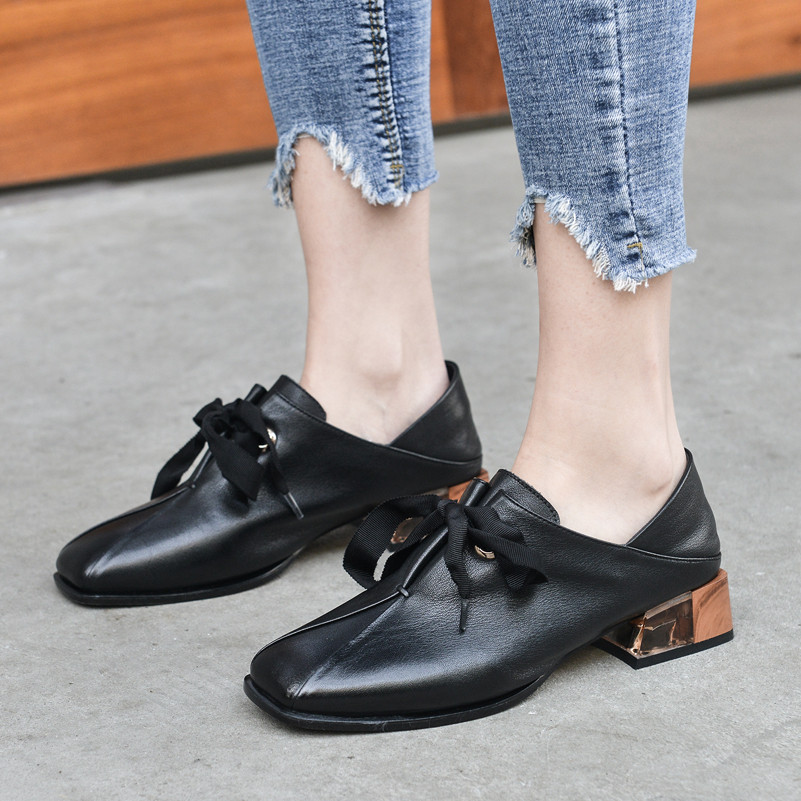 Купить с кэшбэком Meotina High Heels Women Pumps Natural Genuine Leather Chunky Heels Shoes Real Leather Square Toe Shoes Ladies Spring Size 34-39