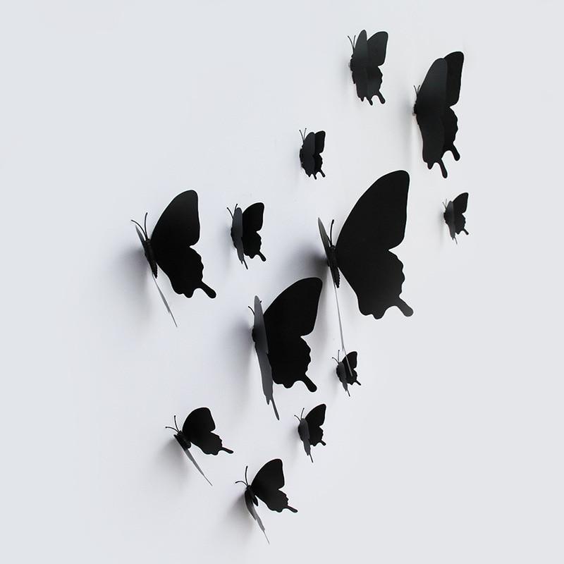 12Pcs/set 3D Black Pteris Butterfly Wall Sticker Living Room Home Butterflies Decorations Magnet Stickers Wedding Decoration