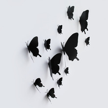 12Pcs/set 3D black Pteris Butterfly Wall Sticker living room Home Butterflies decorations Magnet stickers wedding decoration