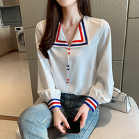 2019 Autumn Korean style V neck Sailor Suit Sweet Jianling Loose Fit Chiffon Blouse Shirt Wear Sweater Tops Women's