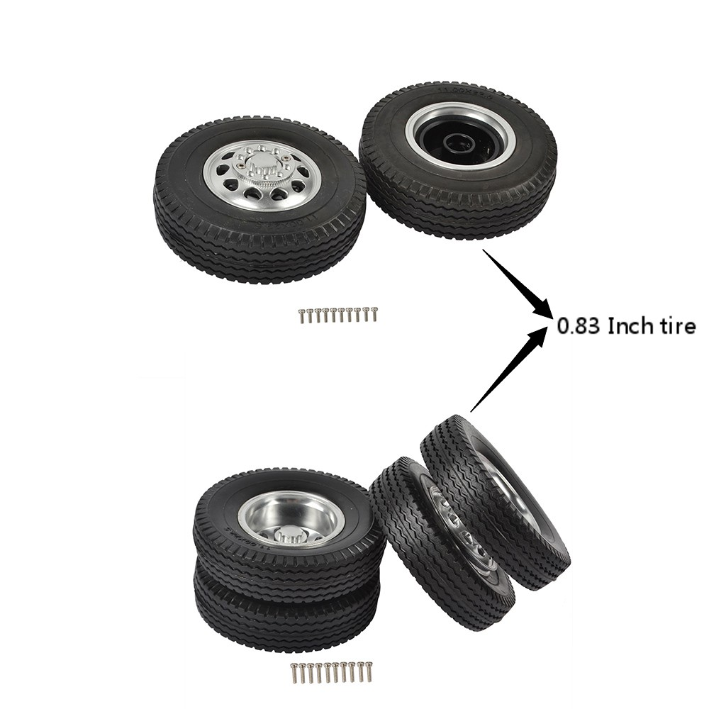 <font><b>1/14</b></font> <font><b>RC</b></font> <font><b>Truck</b></font> Metal Front and Rear Tractor Rims and Rubber Trailer Car Tires for <font><b>Tamiya</b></font> Tractor <font><b>Truck</b></font> Climbing Trailer image