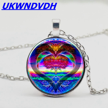 Heart-shaped tree of life retro bump glass pendant popular necklace men and women necklace gorgeous heart life tree pendant necklace for women