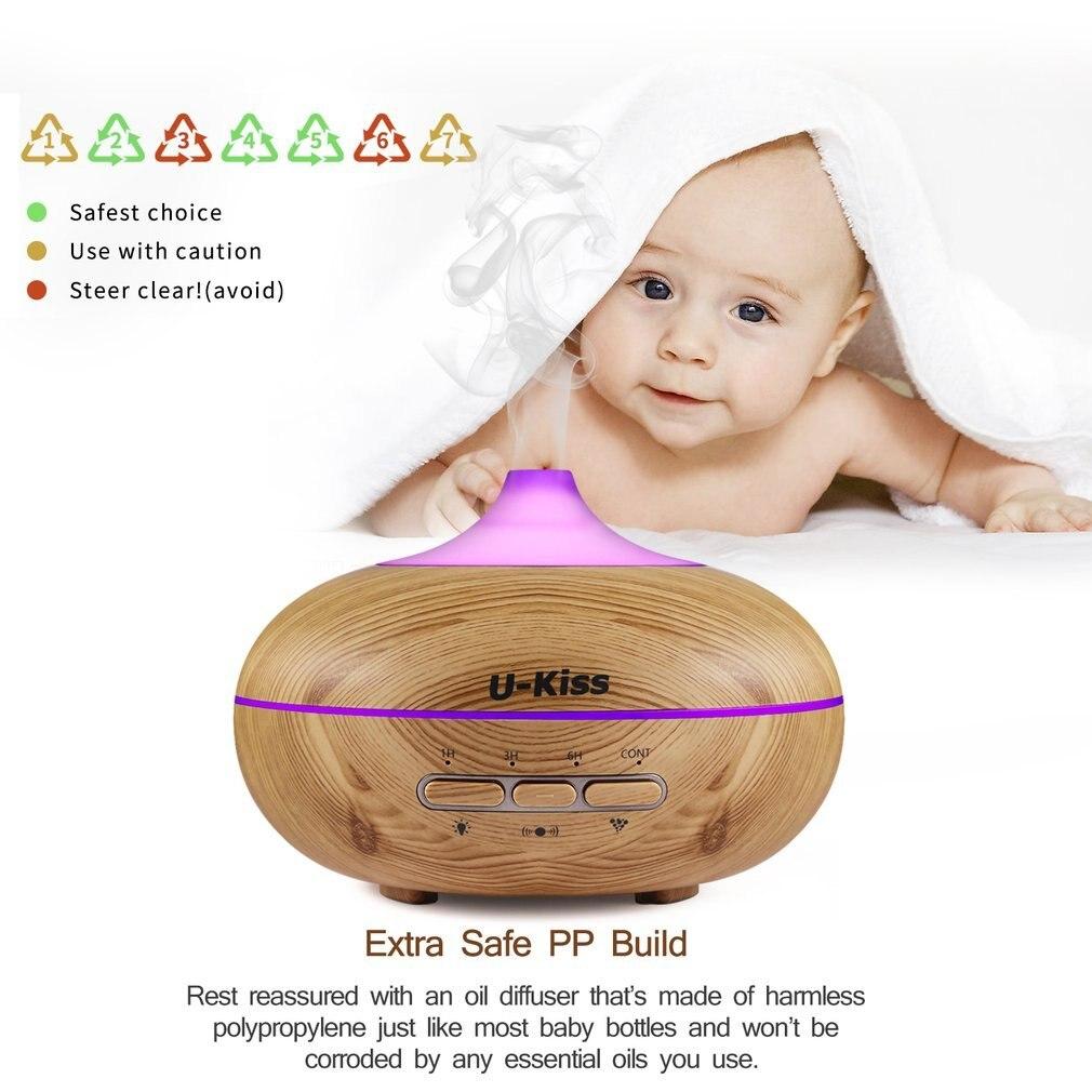 U-Kiss Ultrasonic Aroma Diffuser Human Body Induction Essential Oil Diffuser Aromatherapy Diffuser Wood Grain Humidificador