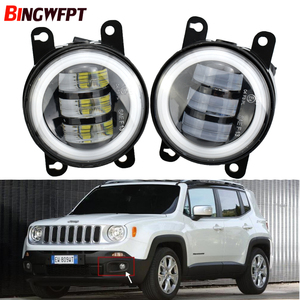 1pair Car Accessories LED Fog light Kit Angel Eye DRL Daytime Running Light 12V For Jeep Renegade BU 2015 2016 2017 2018 2019