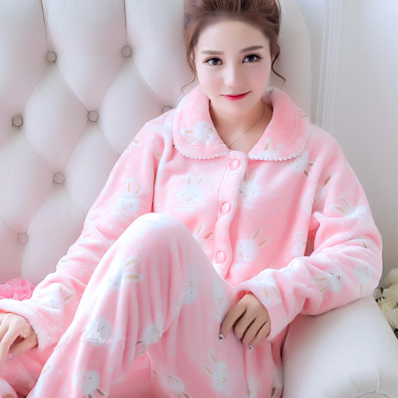 2019 Autumn Winter Women Pajamas Set Sleepwear Warm Flannel Long Sleeves Pijama Pink Cute Flower Print Thick Homewear Pyjama