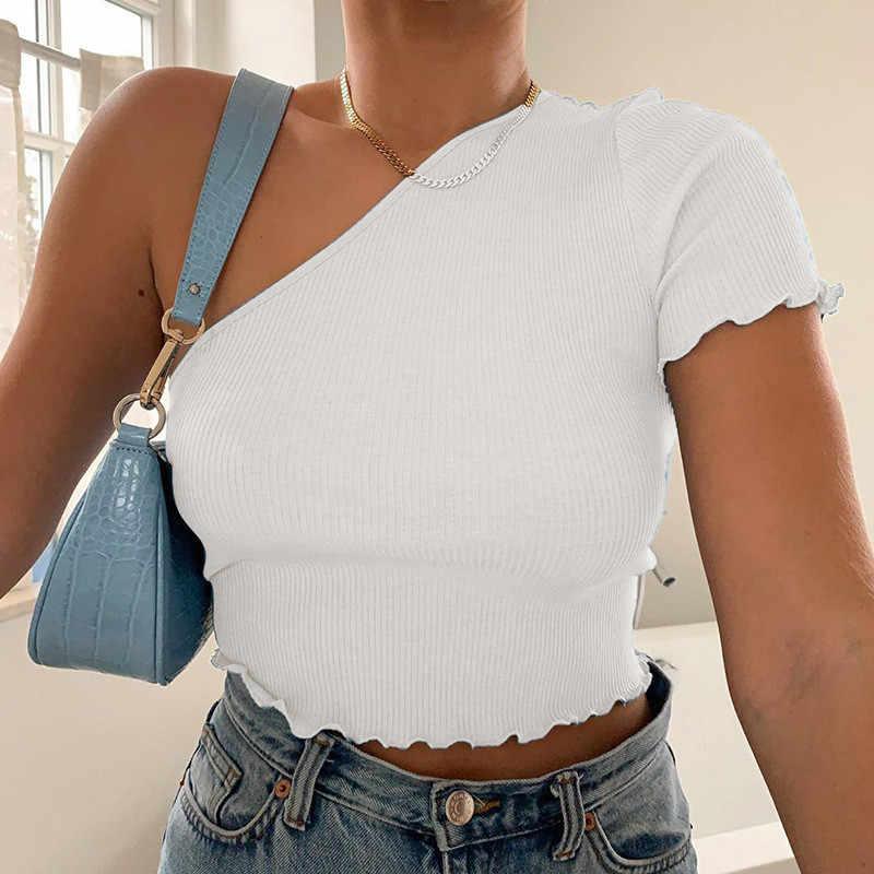 한 어깨 t-셔츠 탑 섹시한 여성 여름 한국 스타일 패션 여성 사무실 니트 늑골이있는 흰색 파란색 자르기 가기