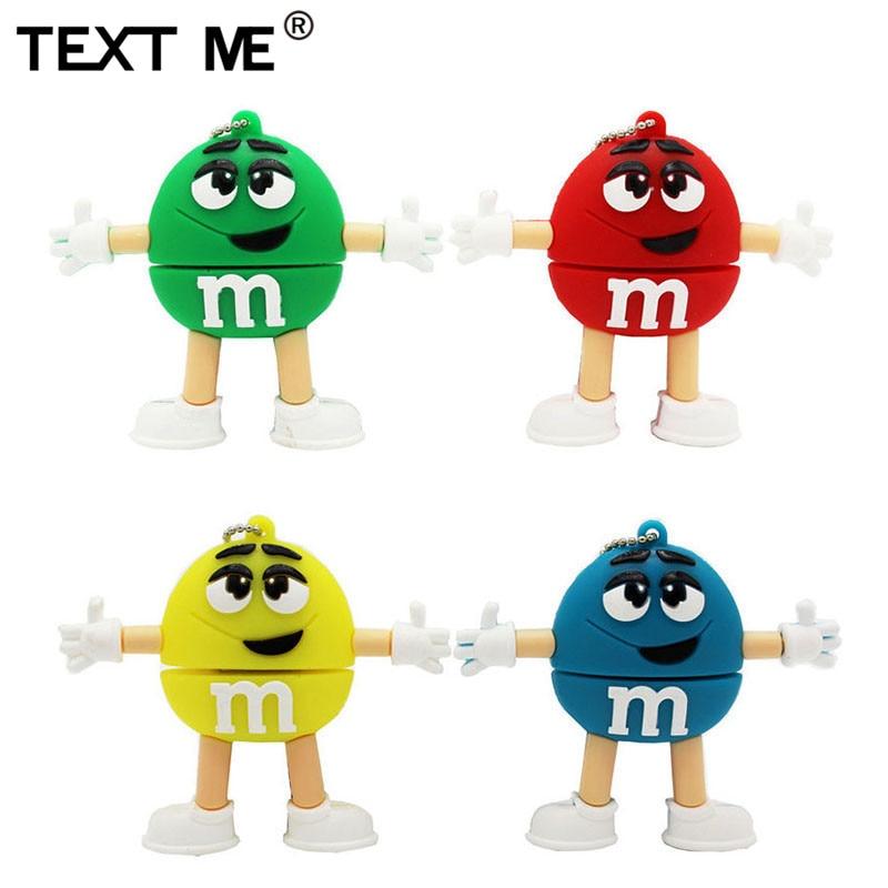 TEXT ME  64GB Cartoon M M Bean Usb Flash Drive Usb 2.0 4GB 8GB 16GB 32GB Pendrive Gift Usb