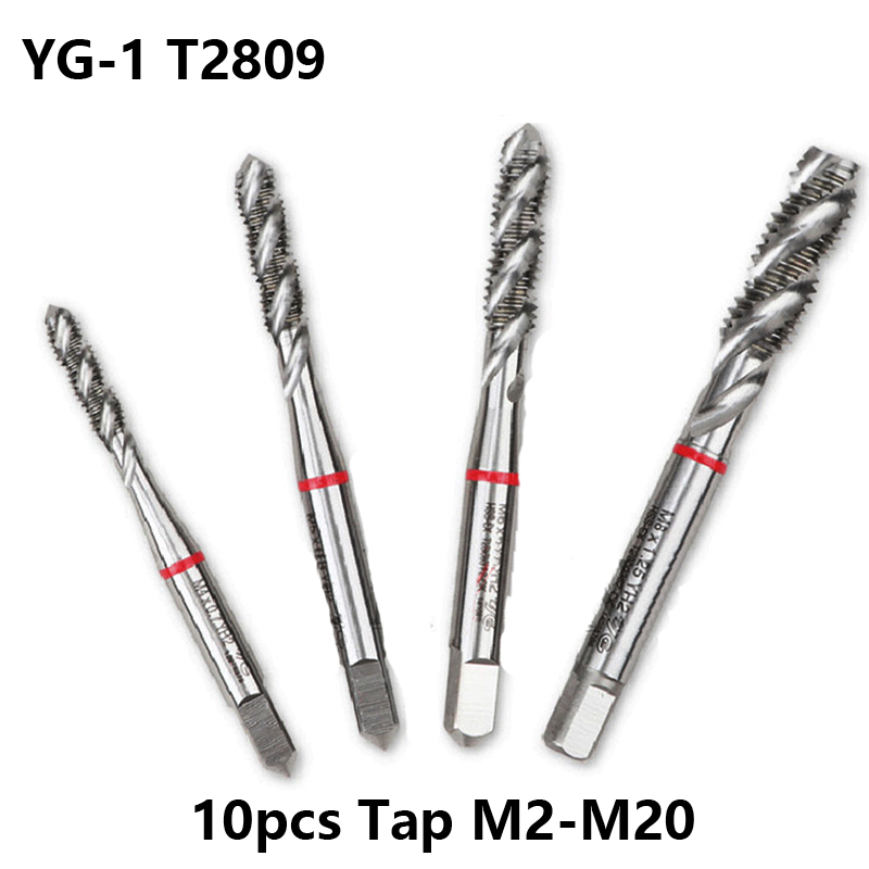 10pcs YG1 HSS Spiral Tap T2809 M2 M3 M4 M6 M16 M20 Processing Stainless Iron Plate Copper Aluminum CNC Lathe Blind Hole Tapping