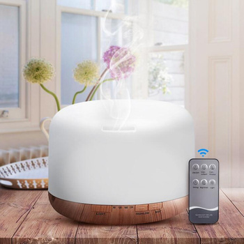 500ml Remote Control Ultrasonic Aroma Diffuser Wood Grain Timing Air Humidifier with 7 Colors LED Lights Home Purifier