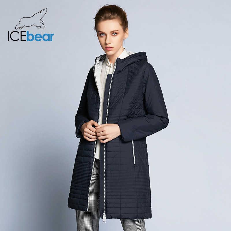 ICEbear 2018  осень  женская ветровка  с капюшоном Мода Женщины Мягкая куртка до колена  17G292D