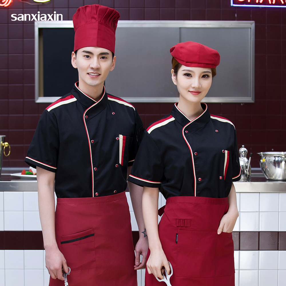 M-4XL Chef Uniforms Cotton Chef Jackets Breathable Hotel Uniform Restaurant Catering Bakery Cooker Waitress Shirts Men And Women