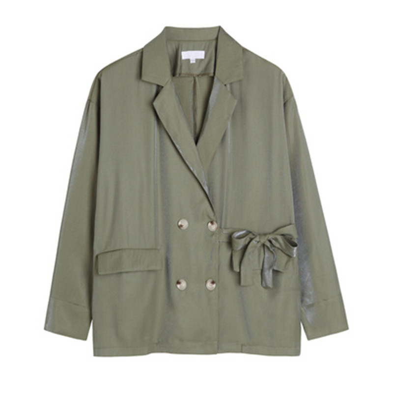 Bow-knot Design Blazer Women 2020 Double Breasted Fake Pocket Suit Jacket Female Fashion Loose Spring Green Suit Outwear RM50138