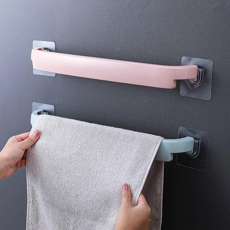 A set of two wall-mounted towel racks towel bar self-adhesive toilet roll holder bathroom rack tools bathroom accessories