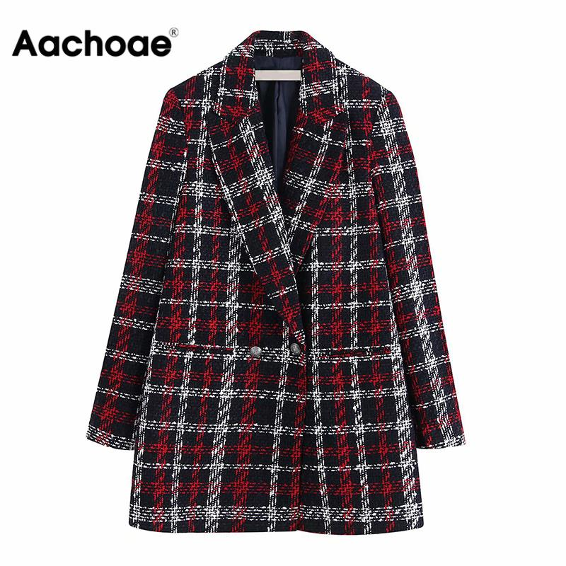 Plaid Printed Blazer Vintage Women Winter Warm Jacket Elegant Double Breasted Suit Blazer Ladies Outerwear Wool Blend Coat
