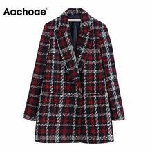 Plaid Printed Blazer Vintage Women Winter Warm Jacket Elegant Double Breasted