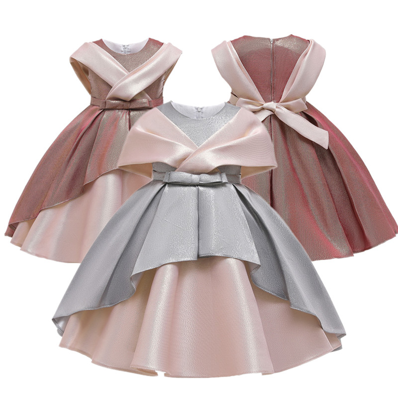 2020 Elegant Silk Princess Girls Dress Wedding Party Dress For Girls Flower Christmas Birthday Party Dress Children Clothes