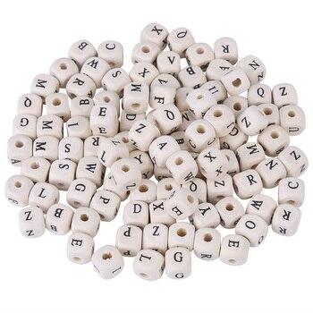 100 unids/set niños DIY letras mezcladas cubo coloridas letras del alfabeto cuentas de madera cuentas cuadradas sueltas para hacer joyas DIY