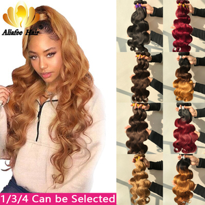 "Aliafee Hair Brazilian Body Wave Bundles Hair 8""-30"" Inches Ombre Human Hair Weave 1/3/4 Piece Remy Hair Extensions(China)"
