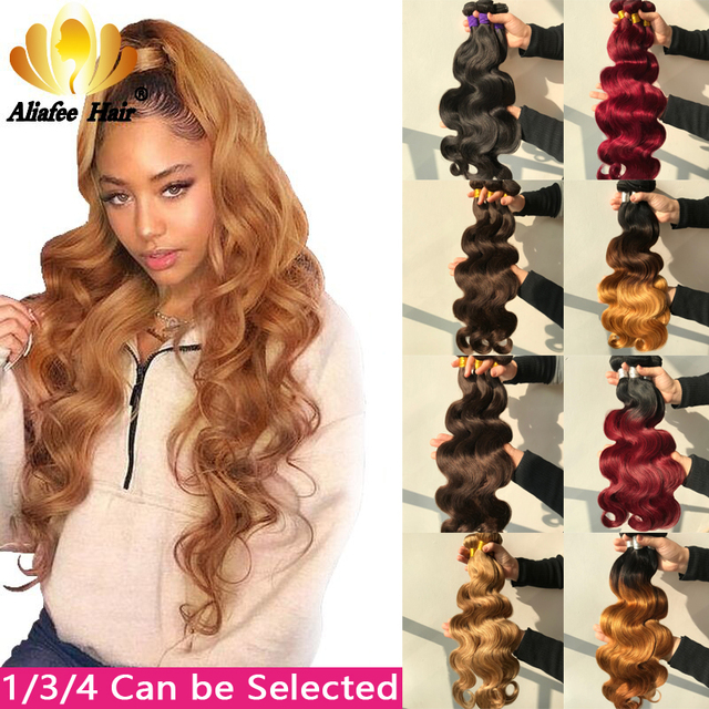 """Aliafee Hair Brazilian Body Wave Bundles Hair 8""""-30"""" Inches Ombre Human Hair Weave 1/3/4 Piece Remy Hair Extensions"""