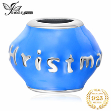 цена на JewelryPalace Blue Enamel Merry Christmas Beads Charm 925 Sterling Silver Blue Paint Charms, DIY Jewelry  Character