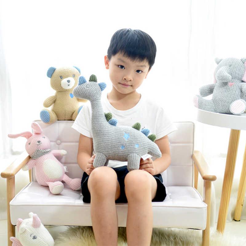 Скандинавский стиль высококачественный вязаный тканевый игрушечный Единорог кролик мягкие игрушки слон медведь динозавр Хлопок Веревка плюшевая игрушка подарок на день рождения