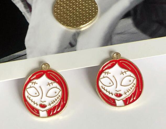 Lot  minnie head  Enamel Metal Charms Jewelry Making Pendants Earrings DIY