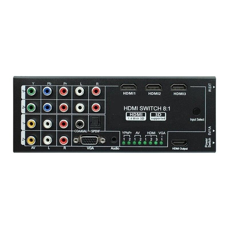 Digital Multi-Functional HDMI Converter AV YPbPr VGA HDMI 8 Port TO 1 HDMI Output 1080P Audio Video HDMI Switch Switcher(EU