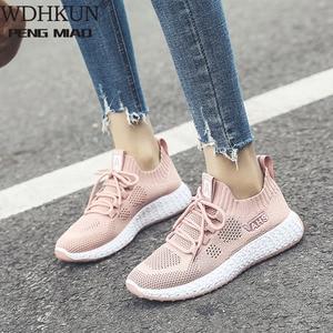 2020 Hot Sale Women Casual Shoes Fashion Breathable Walking Mesh Lace Up Flat Shoes Women Outdoor Sneakers Tenis Feminino