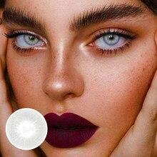 1 par de lentes de contato cosméticas cinzentas naturais pequenas lentes de contato da pupila lentes de contato cosméticas coloridas para os olhos 12 meses