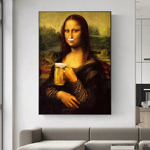 Toile d'art abstraite Spoof Fun Mona Lisa avec boisson à la bière, affiches et tableau d'art mural imprimé pour la décoration de la maison