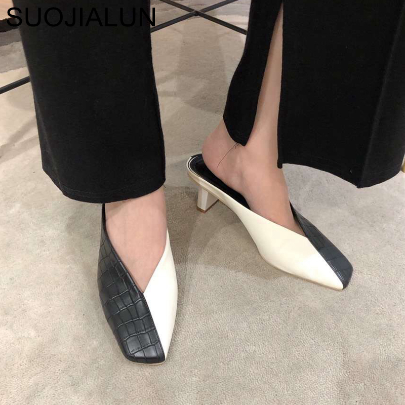 SUOJIALUN Fashion Stone Pattern Women Mules Slipper Square Low Heels Slides Mix Color Square Toe Sandal Shoes Slip On Loafers
