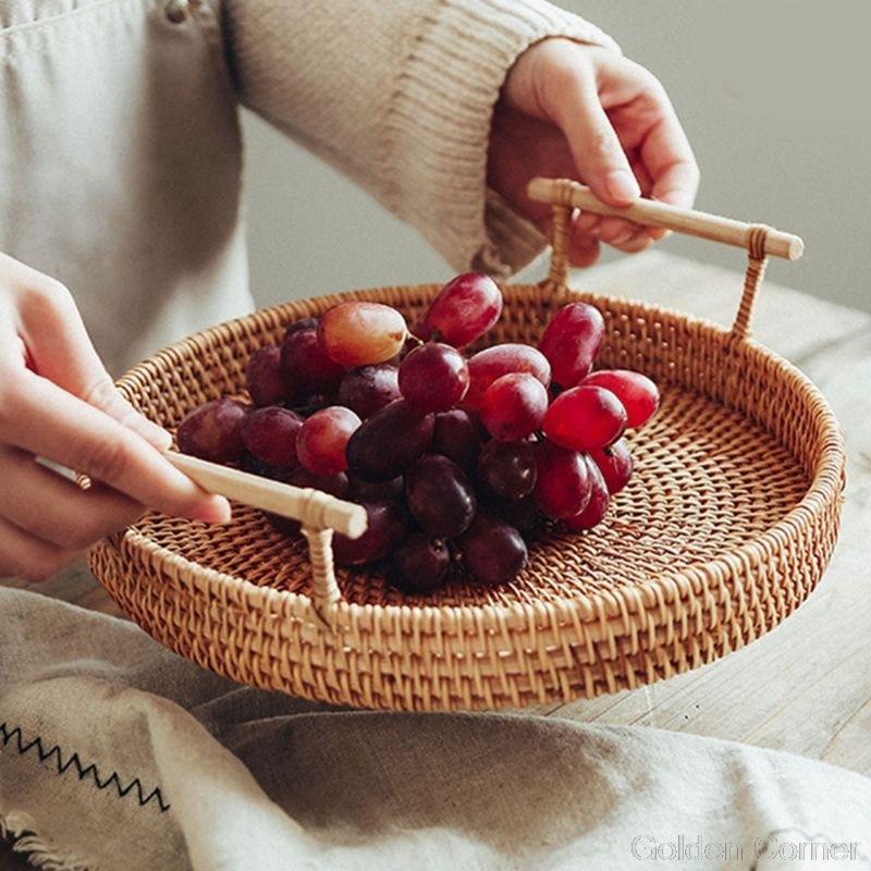 Круглая плетеная корзина для хранения фруктов, поднос ручной работы из ротанга с деревянной ручкой, Классический поднос для хлеба Au10 20, Прямая поставка-5