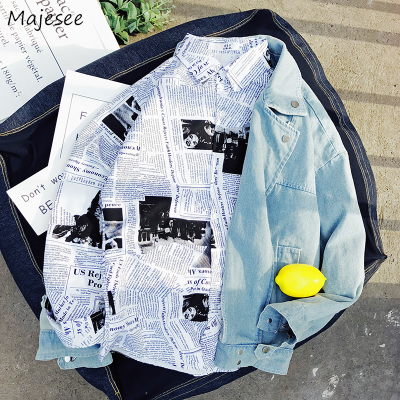 Shirt Men Long Sleeve Tops Newspaper Printed Single Breasted Mens Shirts Korean Style Plus Size Fashion Clothing Hot Sale Retro