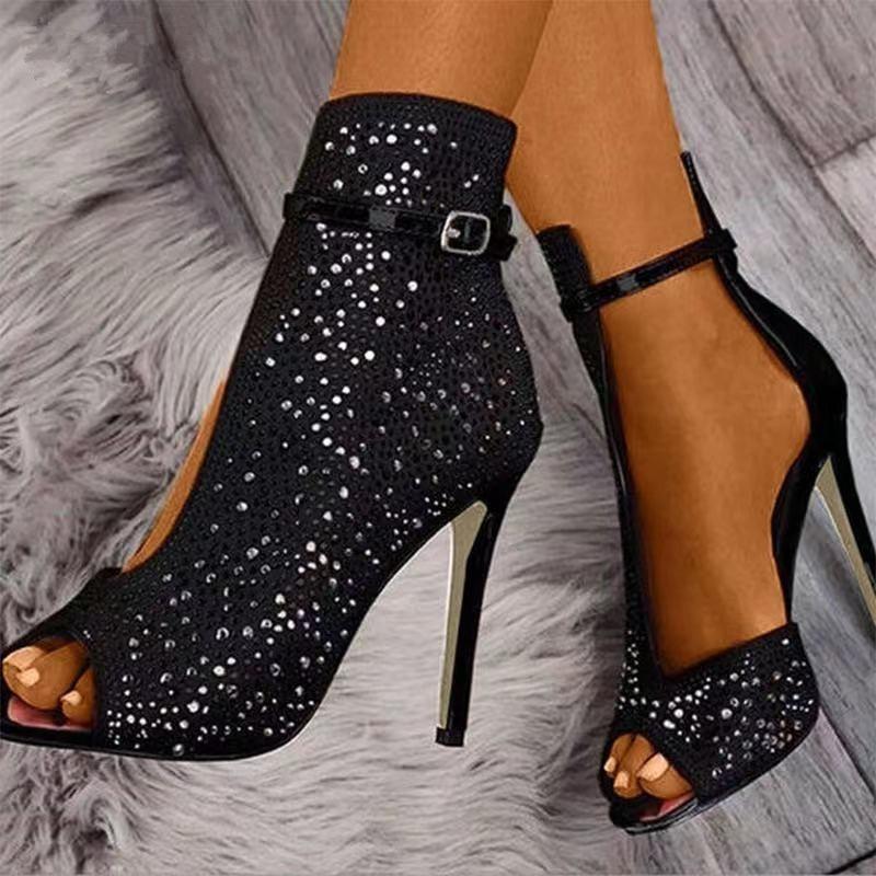 2021 NEW Women Sandals Ankle Straps high heels Buckle Transparent Crystal Sandals Heel Pumps Ladies Party women Shoes woman