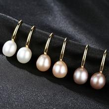 YUEYIN 925 Sterling Silver Earrings 10-11mm Pearl Earrings Dangle Earrings for Women Classic 18K Plated Anniversary Gift daimi shining pink keshi pearl earrings 10 11mm asymmetrical earrings elegant 925 silver earrings