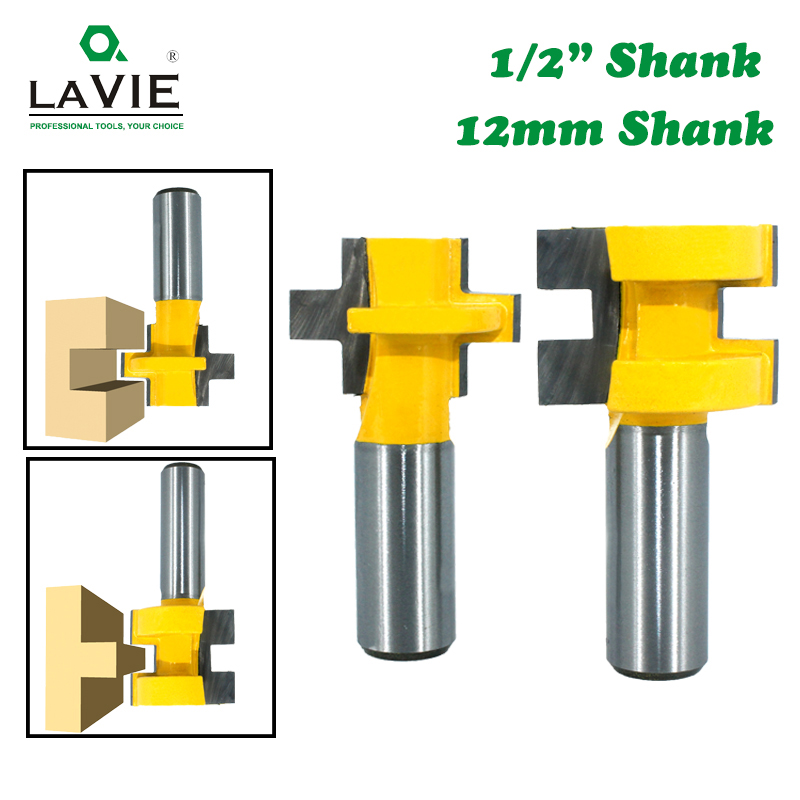 LAVIE 2pcs 12MM 1/2inch Shank T-Slot Square Tooth Tenon Milling Cutter Carving Router Bits For Wood Tool Woodworking MC03240