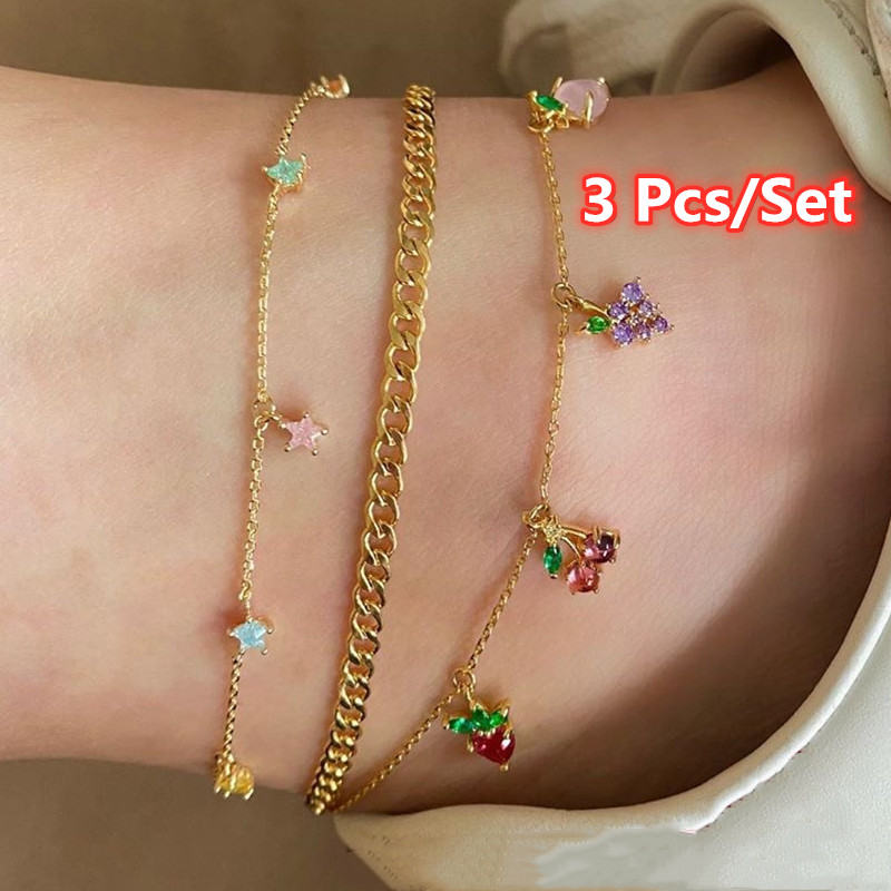 3 Pcs/Set Women Fashion Crystal Apple Cherry Grape Fruits Star Anklets for Women Sweet Gold Chain Anklets Set Jewelry Gifts