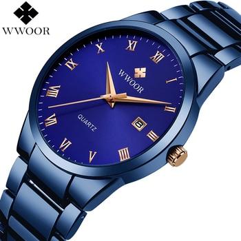 цены Relogio Masculino WWOOR Luxury Mens Analog Quartz Business Wrist Watch Men Full Steel Waterproof Sports Watches Male Blue Clock