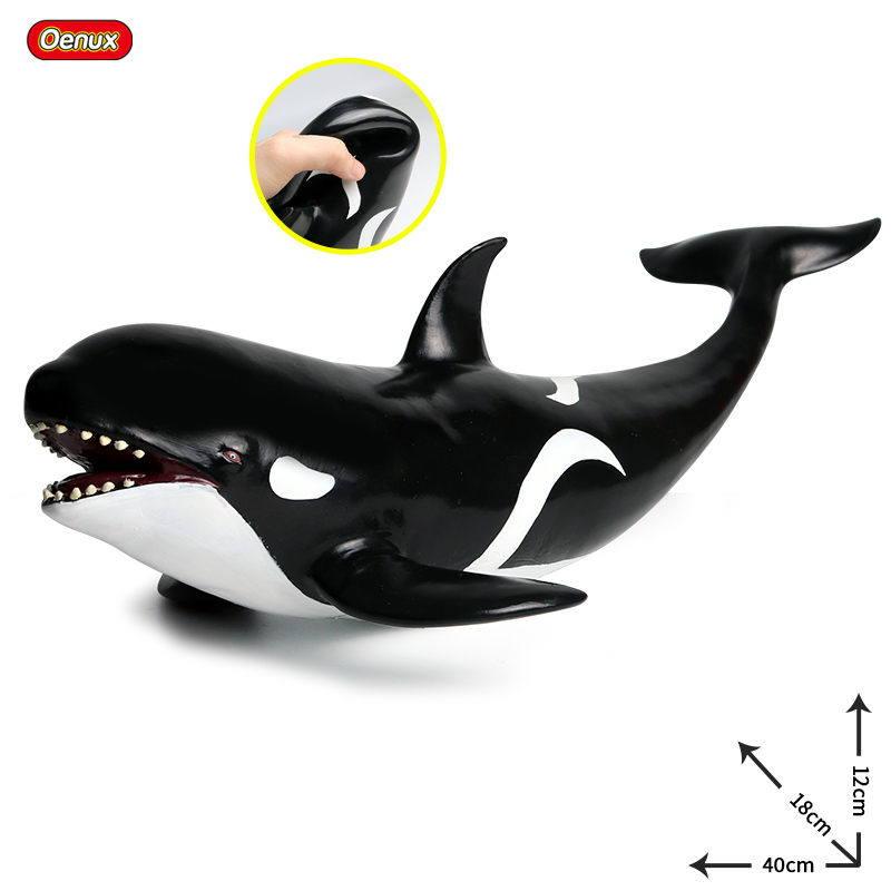 Oenux Big Size 40x18x12cm Killer Whale Sea Animals Soft PVC Shark Whale Action Figures Marine Animal Model Kids Collection Toy image