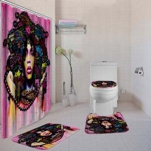 Image 5 - Dafieldแอฟริกันผ้าม่านชุด4 Pcs Bathพรมชุดห้องน้ำBathชุดอุปกรณ์ห้องน้ำผ้าม่านตะขอ