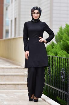 Minahill sznurowane spodnie tunika podwójny garnitur 10112-08 czarny 10112-08 tanie i dobre opinie Dla dorosłych Other