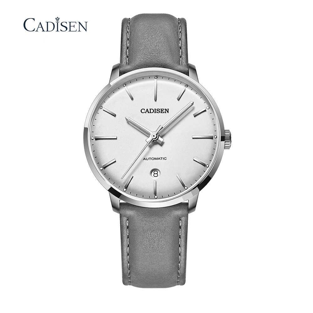 أفضل ماركة CADISEN ساعة أوتوماتيكية ميوتا 8215 الرجال مقاوم للماء تاريخ الرياضة الرجال الجلود الميكانيكية ساعة معصم ساعة الذكور الموضة